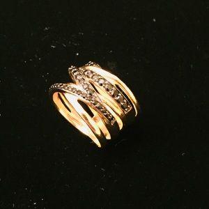 Gold & Dark Sapphire Fashion Ring Size 6